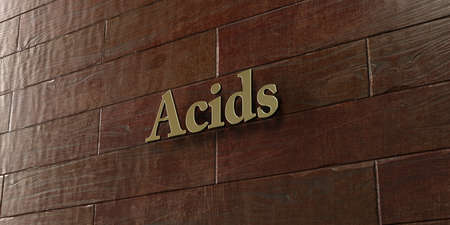 acids: Acids - Bronze plaque mounted on maple wood wall  - 3D rendered royalty free stock picture. This image can be used for an online website banner ad or a print postcard.