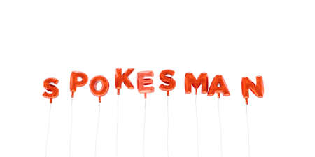 SPOKESMAN - word made from red foil balloons - 3D rendered.  Can be used for an online banner ad or a print postcard.