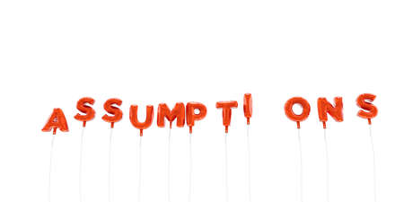 ASSUMPTIONS - word made from red foil balloons - 3D rendered.  Can be used for an online banner ad or a print postcard.