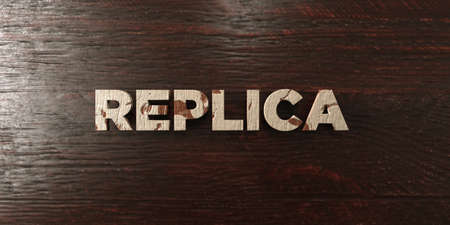 replica: Replica - grungy wooden headline on Maple  - 3D rendered royalty free stock image. This image can be used for an online website banner ad or a print postcard. Stock Photo