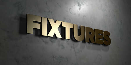 fixtures: Fixtures - Gold sign mounted on glossy marble wall  - 3D rendered royalty free stock illustration. This image can be used for an online website banner ad or a print postcard.