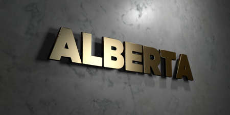 mounted: Alberta - Gold sign mounted on glossy marble wall  - 3D rendered royalty free stock illustration. This image can be used for an online website banner ad or a print postcard. Stock Photo