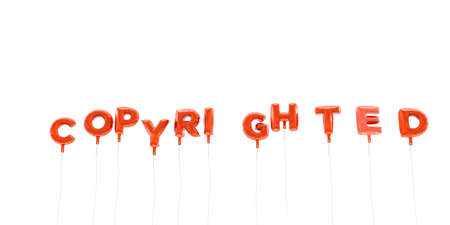 COPYRIGHTED - word made from red foil balloons - 3D rendered.  Can be used for an online banner ad or a print postcard.