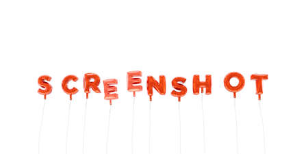 screenshot: SCREENSHOT - word made from red foil balloons - 3D rendered.  Can be used for an online banner ad or a print postcard.