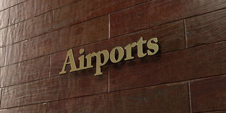 mounted: Airports - Bronze plaque mounted on maple wood wall  - 3D rendered royalty free stock picture. This image can be used for an online website banner ad or a print postcard. Stock Photo