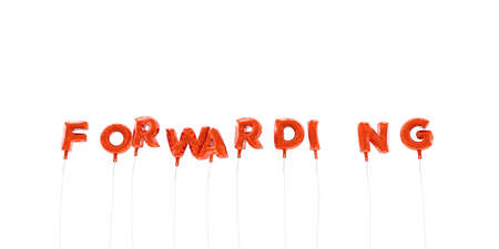 forwarding: FORWARDING - word made from red foil balloons - 3D rendered.  Can be used for an online banner ad or a print postcard.