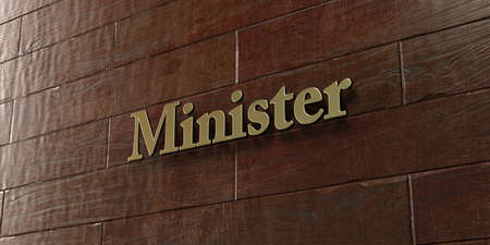 minister: Minister - Bronze plaque mounted on maple wood wall  - 3D rendered royalty free stock picture. This image can be used for an online website banner ad or a print postcard.