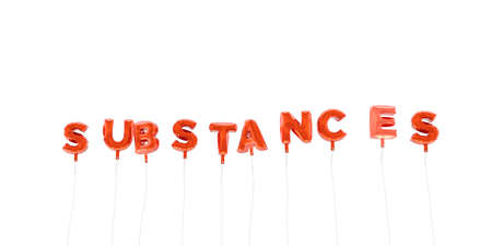 substances: SUBSTANCES - word made from red foil balloons - 3D rendered.  Can be used for an online banner ad or a print postcard.