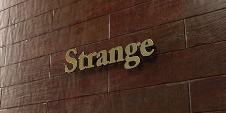 mounted: Strange - Bronze plaque mounted on maple wood wall  - 3D rendered royalty free stock picture. This image can be used for an online website banner ad or a print postcard. Stock Photo