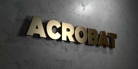 mounted: Acrobat - Gold sign mounted on glossy marble wall  - 3D rendered royalty free stock illustration. This image can be used for an online website banner ad or a print postcard.