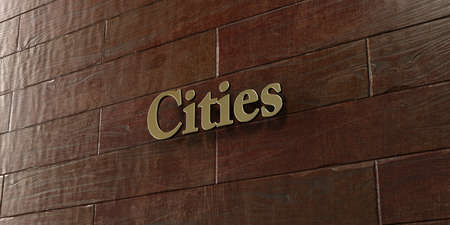 mounted: Cities - Bronze plaque mounted on maple wood wall  - 3D rendered royalty free stock picture. This image can be used for an online website banner ad or a print postcard.