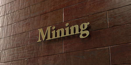 mounted: Mining - Bronze plaque mounted on maple wood wall  - 3D rendered royalty free stock picture. This image can be used for an online website banner ad or a print postcard. Stock Photo