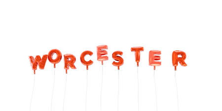 WORCESTER - word made from red foil balloons - 3D rendered.  Can be used for an online banner ad or a print postcard.