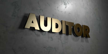 mounted: Auditor - Gold sign mounted on glossy marble wall  - 3D rendered royalty free stock illustration. This image can be used for an online website banner ad or a print postcard. Stock Photo