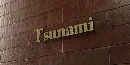 Tsunami - Bronze plaque mounted on maple wood wall  - 3D rendered royalty free stock picture. This image can be used for an online website banner ad or a print postcard.