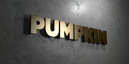mounted: Pumpkin - Gold sign mounted on glossy marble wall  - 3D rendered royalty free stock illustration. This image can be used for an online website banner ad or a print postcard.