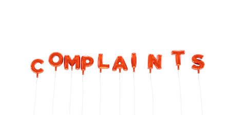 COMPLAINTS - word made from red foil balloons - 3D rendered.  Can be used for an online banner ad or a print postcard.