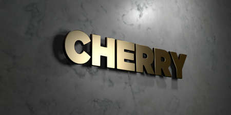 mounted: Cherry - Gold sign mounted on glossy marble wall  - 3D rendered royalty free stock illustration. This image can be used for an online website banner ad or a print postcard.