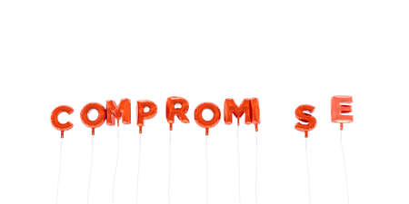 to compromise: COMPROMISE - word made from red foil balloons - 3D rendered.  Can be used for an online banner ad or a print postcard. Stock Photo