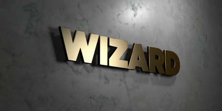 mounted: Wizard - Gold sign mounted on glossy marble wall  - 3D rendered royalty free stock illustration. This image can be used for an online website banner ad or a print postcard. Stock Photo