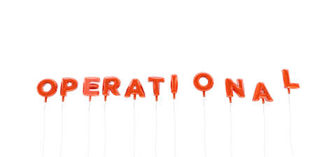 OPERATIONAL - word made from red foil balloons - 3D rendered.  Can be used for an online banner ad or a print postcard.