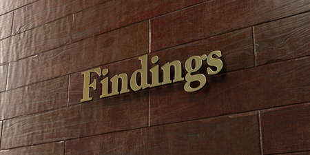 findings: Findings - Bronze plaque mounted on maple wood wall  - 3D rendered royalty free stock picture. This image can be used for an online website banner ad or a print postcard. Stock Photo