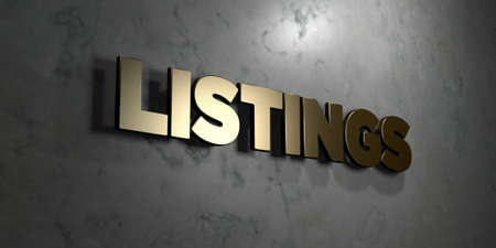 listings: Listings - Gold sign mounted on glossy marble wall  - 3D rendered royalty free stock illustration. This image can be used for an online website banner ad or a print postcard. Stock Photo