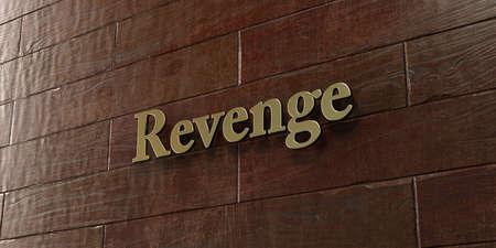 venganza: La venganza - placa de bronce montada en la pared de madera de arce - 3D representa la imagen de stock libres de derechos. Esta imagen se puede utilizar para un anuncio bandera del Web site en línea o una postal de impresión. Foto de archivo