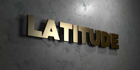 latitude: Latitude - Gold sign mounted on glossy marble wall  - 3D rendered royalty free stock illustration. This image can be used for an online website banner ad or a print postcard.