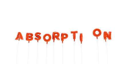absorption: ABSORPTION - word made from red foil balloons - 3D rendered.  Can be used for an online banner ad or a print postcard.