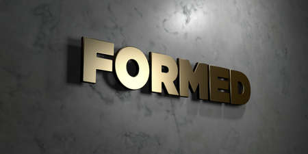 formed: Formed - Gold sign mounted on glossy marble wall  - 3D rendered royalty free stock illustration. This image can be used for an online website banner ad or a print postcard.