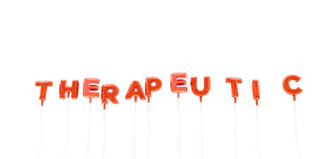 therapeutic: THERAPEUTIC - word made from red foil balloons - 3D rendered.  Can be used for an online banner ad or a print postcard.