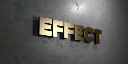 Effect - Gold sign mounted on glossy marble wall  - 3D rendered royalty free stock illustration. This image can be used for an online website banner ad or a print postcard.