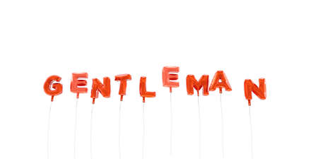 GENTLEMAN - word made from red foil balloons - 3D rendered.  Can be used for an online banner ad or a print postcard. Stock Photo