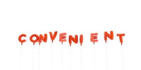 convenient: CONVENIENT - word made from red foil balloons - 3D rendered.  Can be used for an online banner ad or a print postcard. Stock Photo