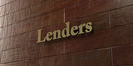 Lenders - Bronze plaque mounted on maple wood wall  - 3D rendered royalty free stock picture. This image can be used for an online website banner ad or a print postcard.