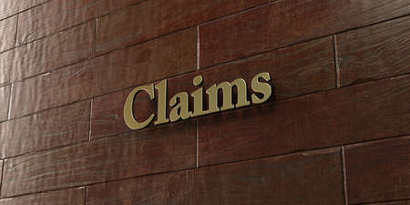 Claims - Bronze plaque mounted on maple wood wall  - 3D rendered royalty free stock picture. This image can be used for an online website banner ad or a print postcard.