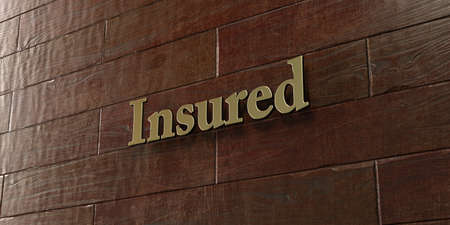 insured: Insured - Bronze plaque mounted on maple wood wall  - 3D rendered royalty free stock picture. This image can be used for an online website banner ad or a print postcard.
