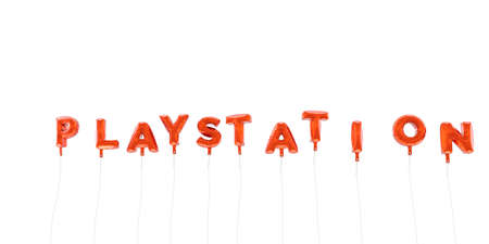 playstation: PLAYSTATION - word made from red foil balloons - 3D rendered.  Can be used for an online banner ad or a print postcard. Editorial