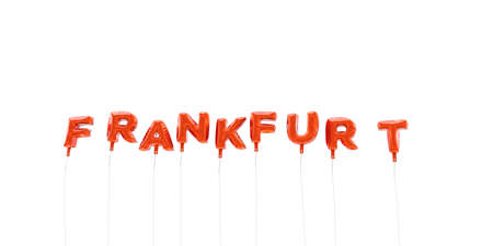 frankfurt: FRANKFURT - word made from red foil balloons - 3D rendered.  Can be used for an online banner ad or a print postcard. Stock Photo