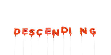 descending: DESCENDING - word made from red foil balloons - 3D rendered.  Can be used for an online banner ad or a print postcard.