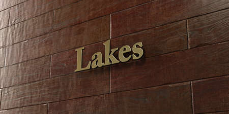 Lakes - Bronze plaque mounted on maple wood wall  - 3D rendered royalty free stock picture. This image can be used for an online website banner ad or a print postcard.