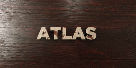 Atlas - grungy wooden headline on Maple  - 3D rendered royalty free stock image. This image can be used for an online website banner ad or a print postcard.