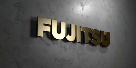 Fujitsu - Gold sign mounted on glossy marble wall  - 3D rendered royalty free stock illustration. This image can be used for an online website banner ad or a print postcard.
