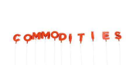 commodities: COMMODITIES - word made from red foil balloons - 3D rendered.  Can be used for an online banner ad or a print postcard.