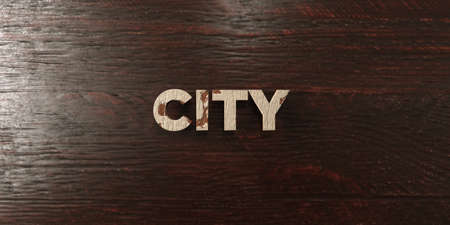 City - grungy wooden headline on Maple  - 3D rendered royalty free stock image. This image can be used for an online website banner ad or a print postcard.