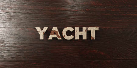 veneer: Yacht - grungy wooden headline on Maple  - 3D rendered royalty free stock image. This image can be used for an online website banner ad or a print postcard.