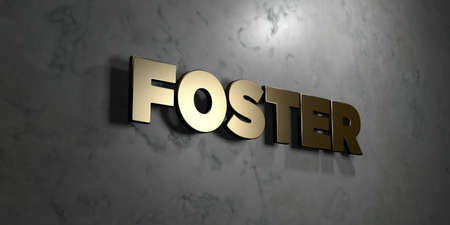 foster: Foster - Gold sign mounted on glossy marble wall  - 3D rendered royalty free stock illustration. This image can be used for an online website banner ad or a print postcard.