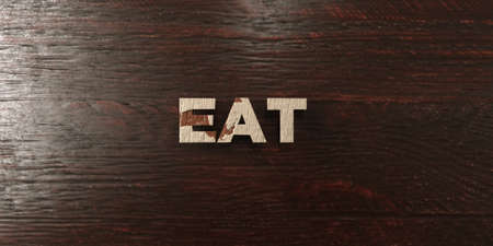 Eat - grungy wooden headline on Maple  - 3D rendered royalty free stock image. This image can be used for an online website banner ad or a print postcard.