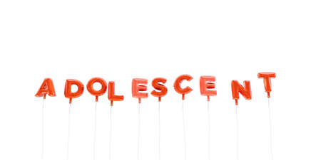 adolescent: ADOLESCENT - word made from red foil balloons - 3D rendered.  Can be used for an online banner ad or a print postcard.